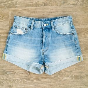 H&M High Waist Button Fly Shorts In Light Wash